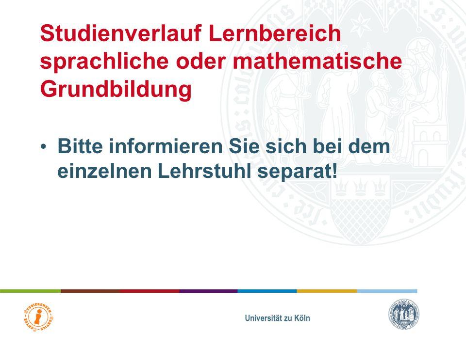 Studienverlauf Lernbereich sprachliche oder mathematische Grundbildung