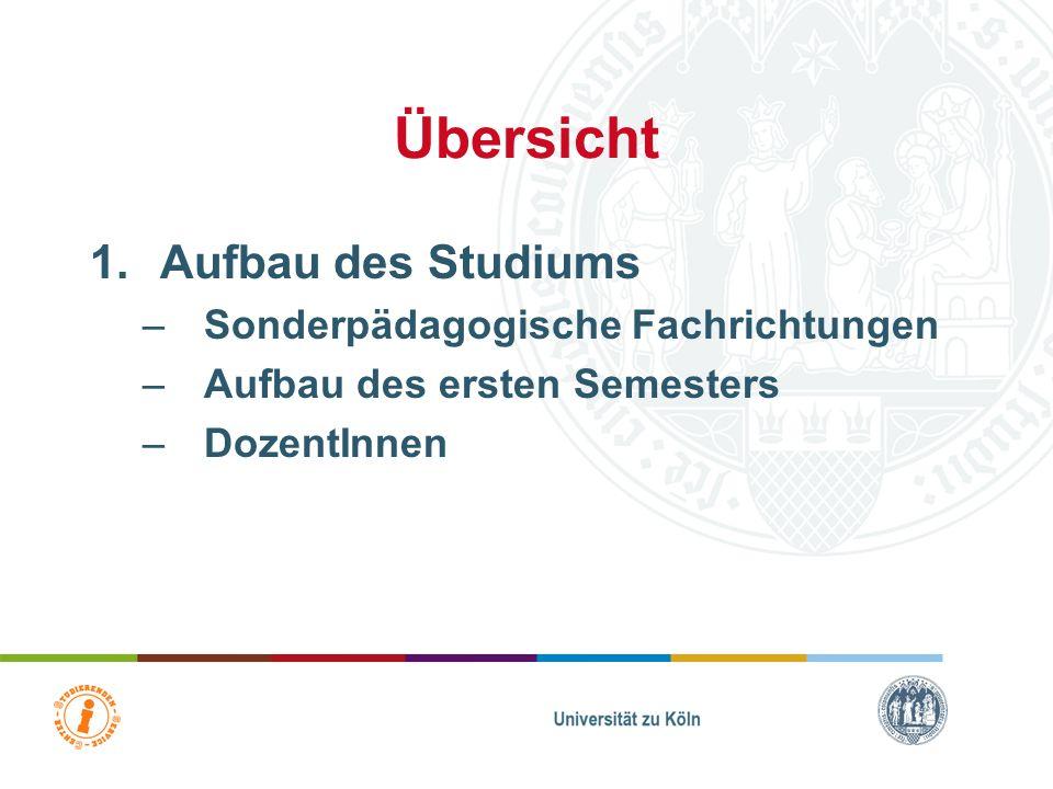 Übersicht Aufbau des Studiums Sonderpädagogische Fachrichtungen