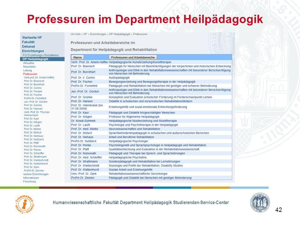 Professuren im Department Heilpädagogik