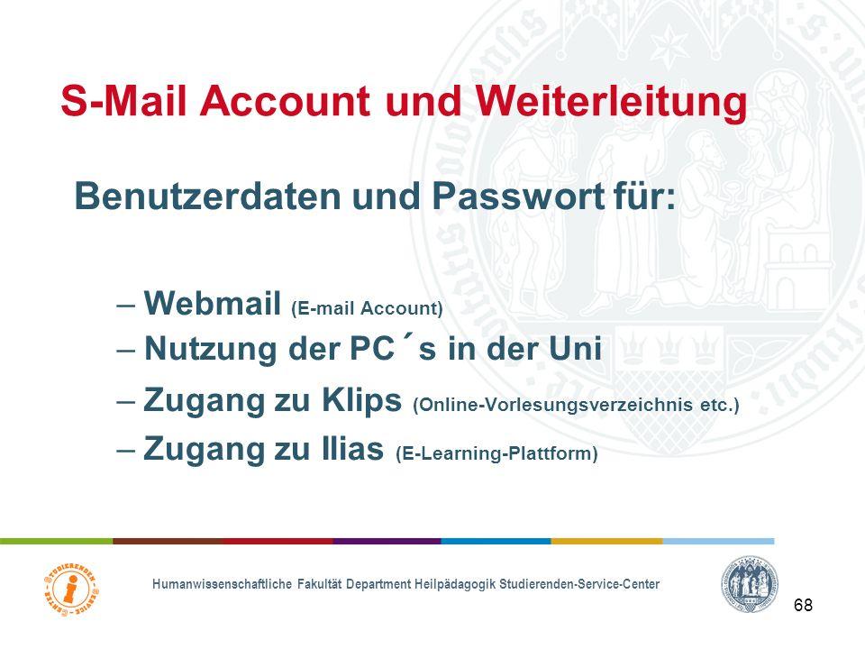 S-Mail Account und Weiterleitung