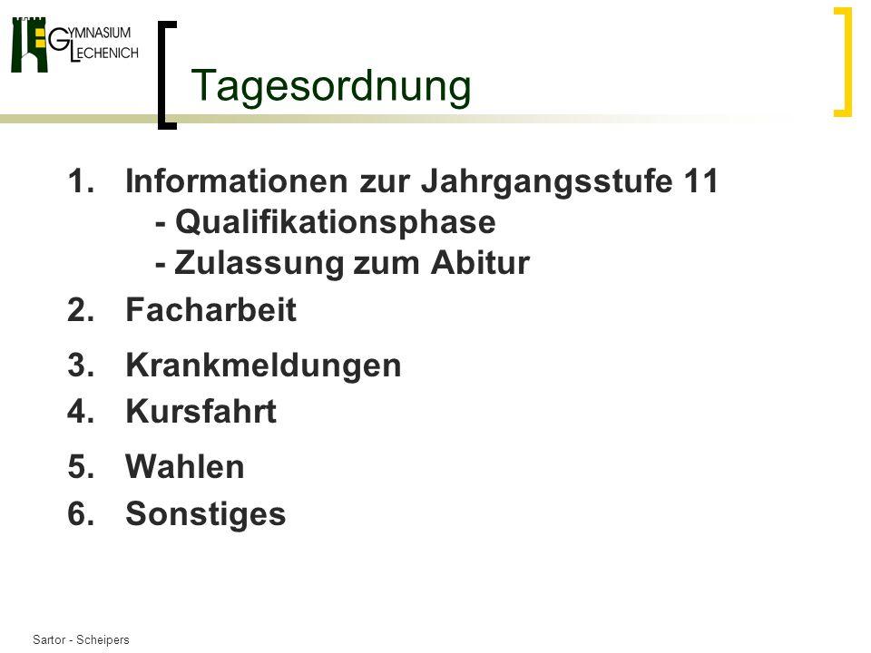 31.03.2017 Tagesordnung. Informationen zur Jahrgangsstufe 11 - Qualifikationsphase - Zulassung zum Abitur.