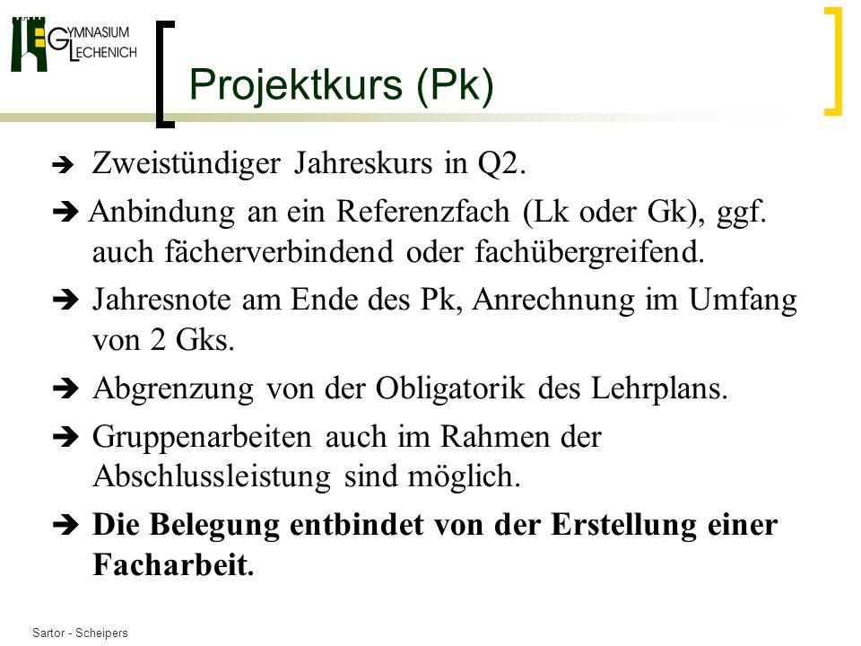Projektkurs (Pk)  Zweistündiger Jahreskurs in Q2.  Anbindung an ein Referenzfach (Lk oder Gk), ggf. auch fächerverbindend oder fachübergreifend.