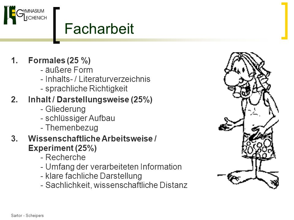Facharbeit Formales (25 %) - äußere Form - Inhalts- / Literaturverzeichnis - sprachliche Richtigkeit.