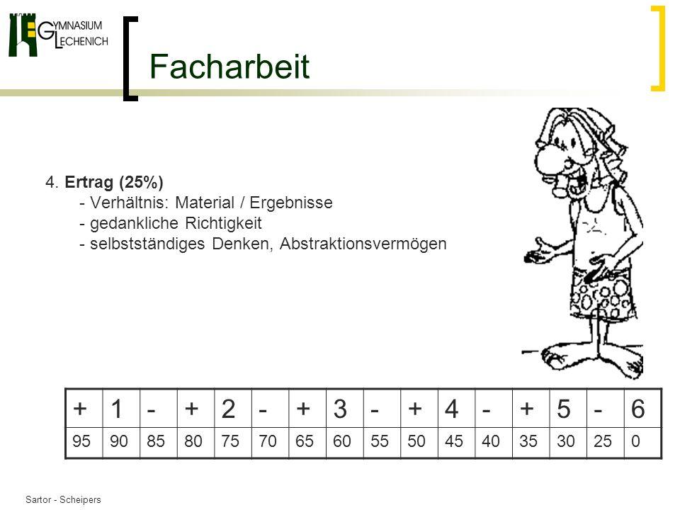 Facharbeit Ertrag (25%) - Verhältnis: Material / Ergebnisse - gedankliche Richtigkeit - selbstständiges Denken, Abstraktionsvermögen.