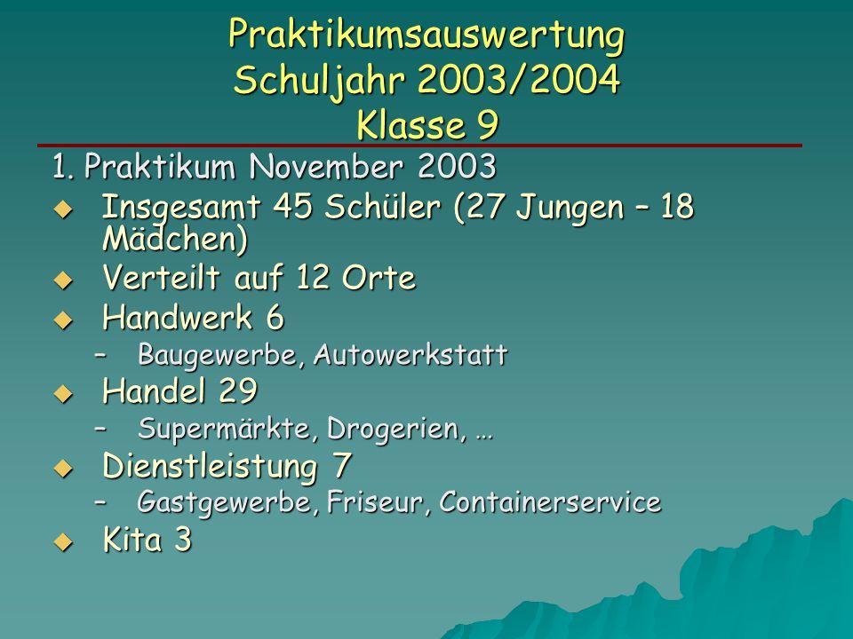 Praktikumsauswertung Schuljahr 2003/2004 Klasse 9