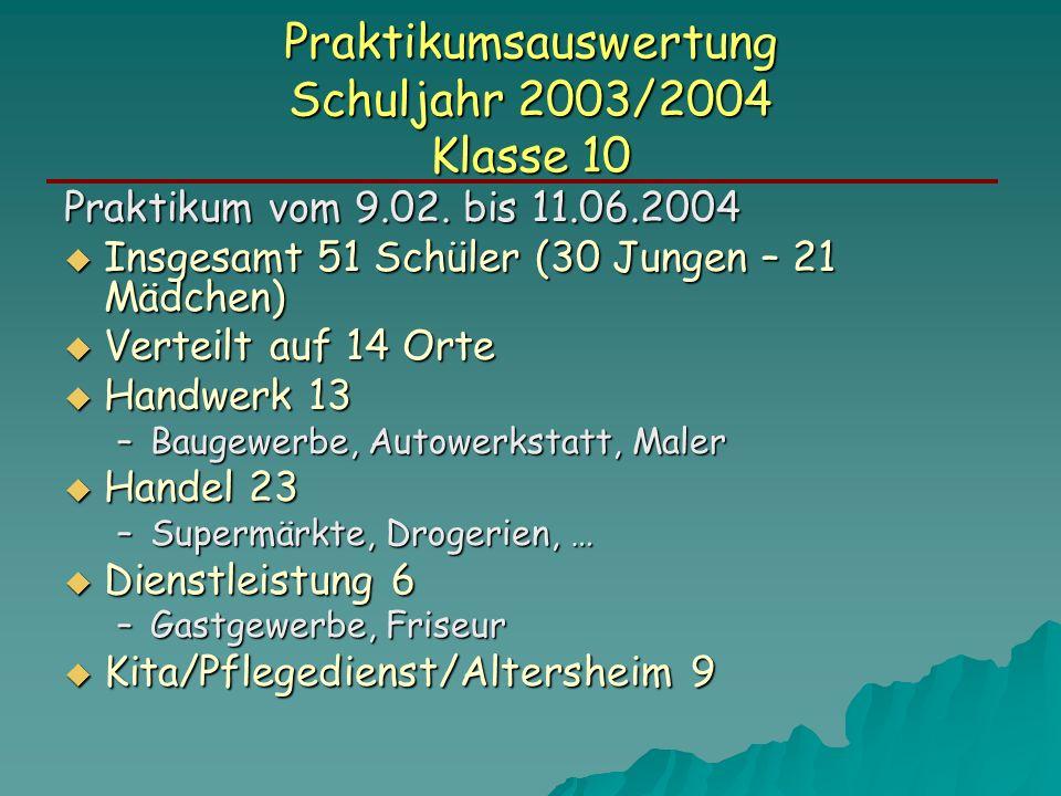 Praktikumsauswertung Schuljahr 2003/2004 Klasse 10