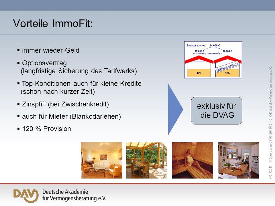 Vorteile ImmoFit: exklusiv für die DVAG immer wieder Geld