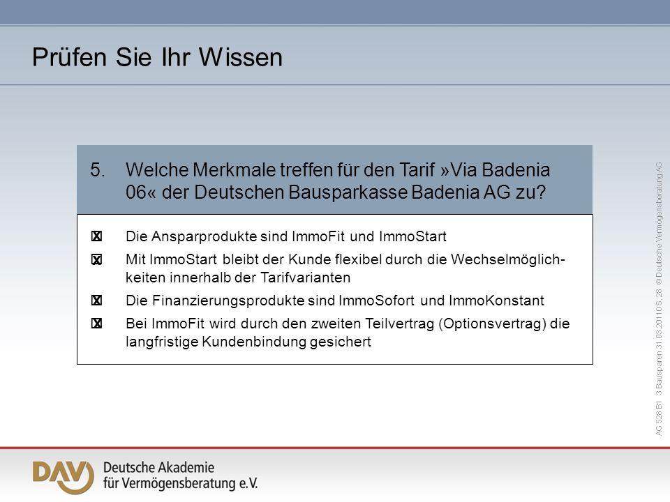 Prüfen Sie Ihr Wissen 5. Welche Merkmale treffen für den Tarif »Via Badenia 06« der Deutschen Bausparkasse Badenia AG zu