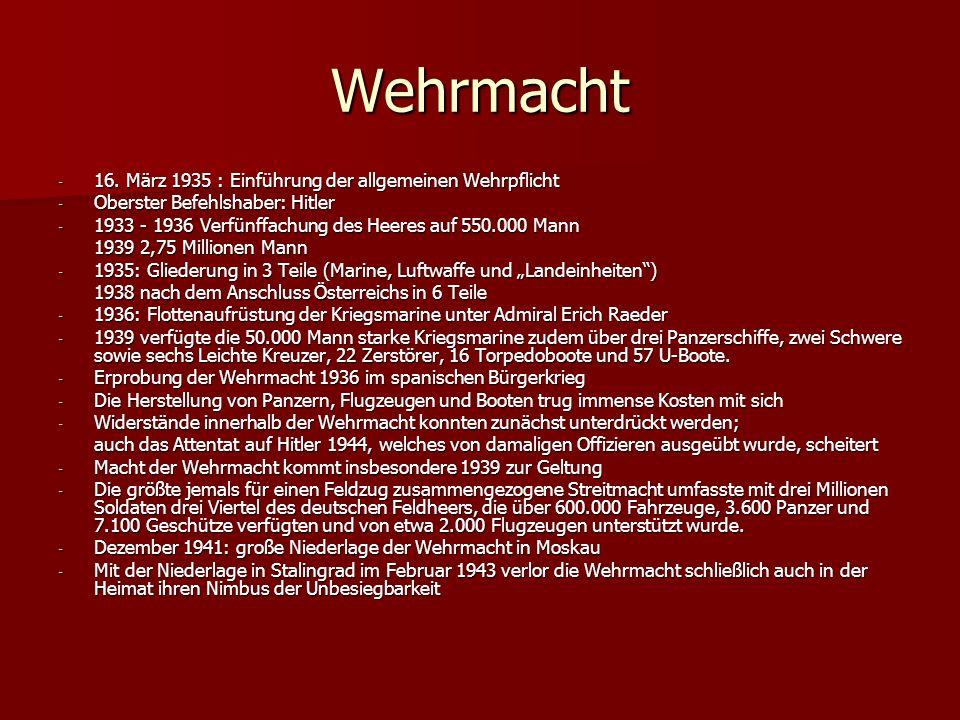 Wehrmacht 16. März 1935 : Einführung der allgemeinen Wehrpflicht