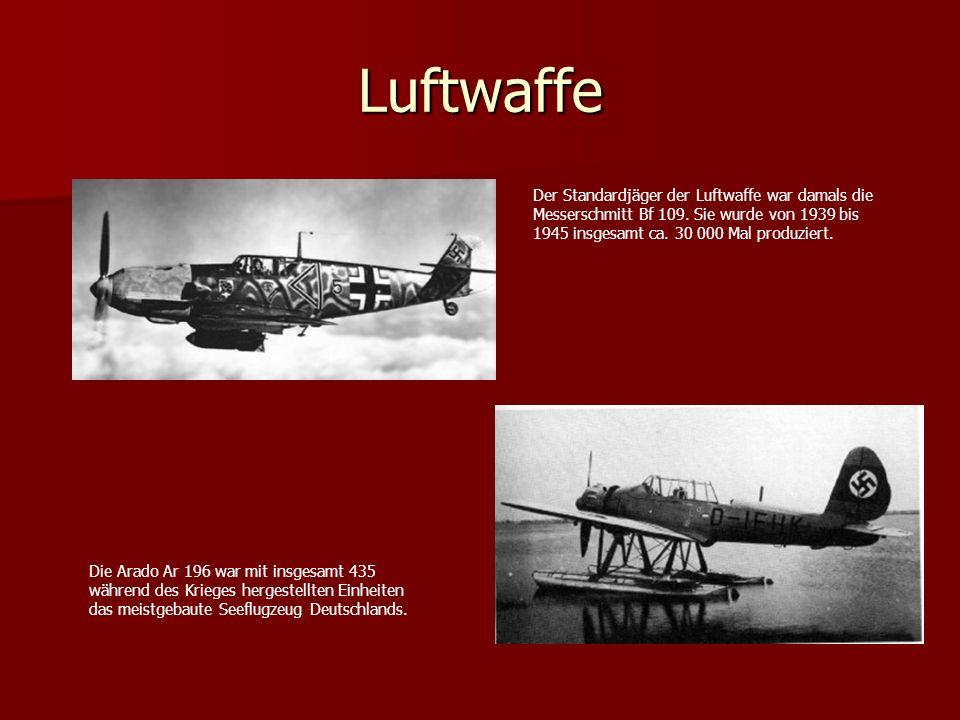 Luftwaffe Der Standardjäger der Luftwaffe war damals die
