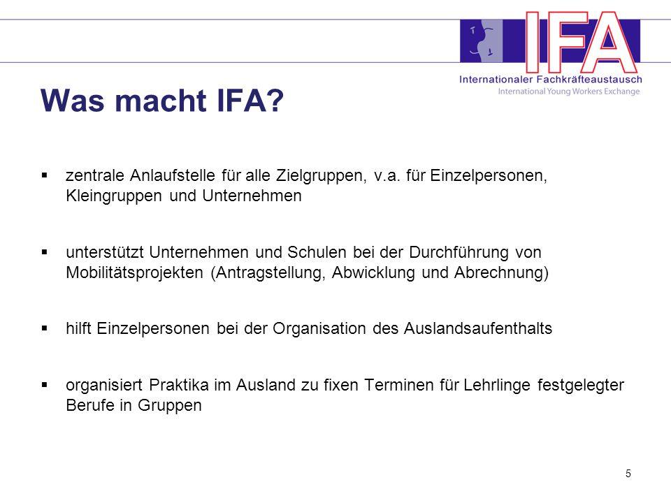 Was macht IFA zentrale Anlaufstelle für alle Zielgruppen, v.a. für Einzelpersonen, Kleingruppen und Unternehmen.