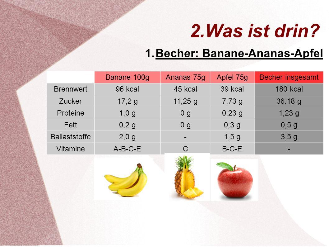 2.Was ist drin Becher: Banane-Ananas-Apfel Banane 100g Ananas 75g