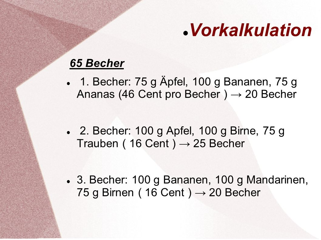 Vorkalkulation 65 Becher