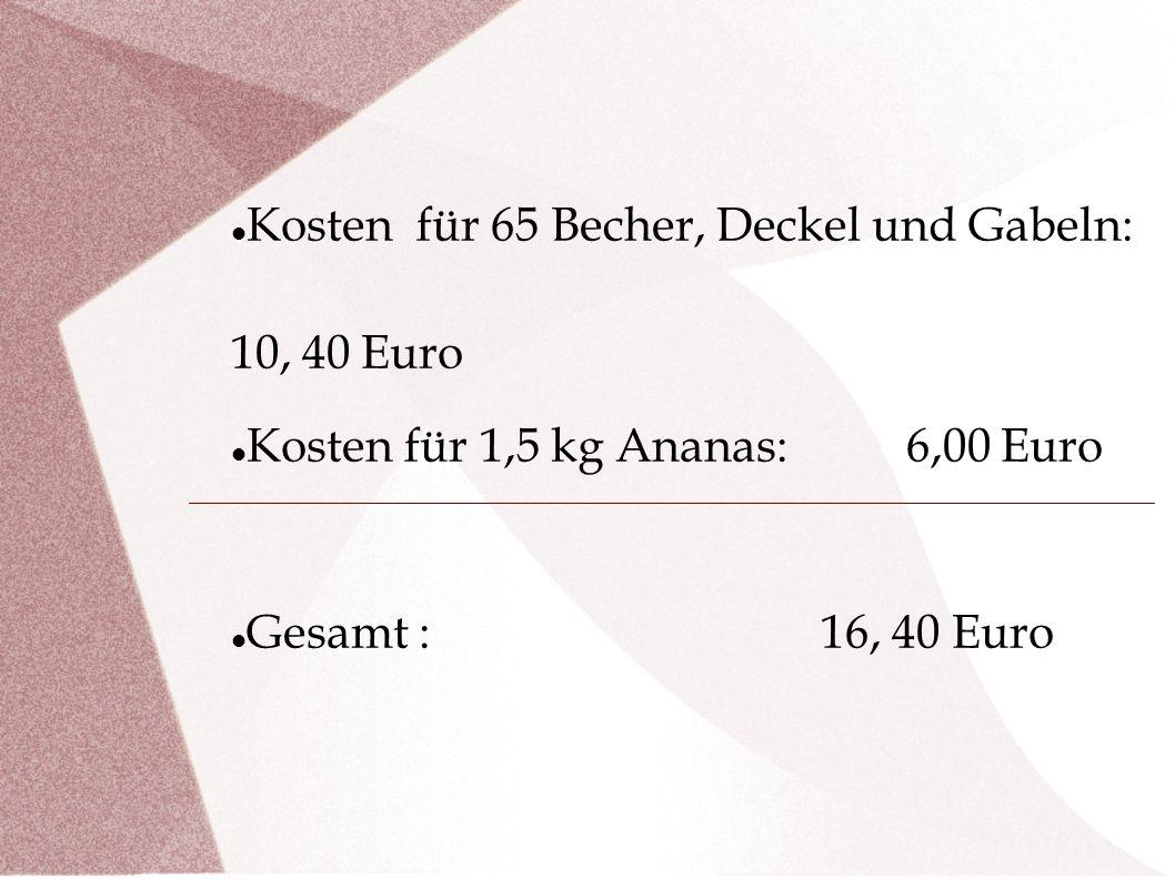 Kosten für 65 Becher, Deckel und Gabeln: 10, 40 Euro