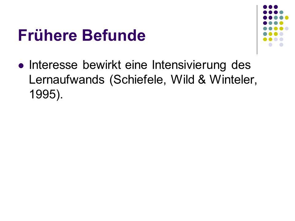 Frühere Befunde Interesse bewirkt eine Intensivierung des Lernaufwands (Schiefele, Wild & Winteler, 1995).