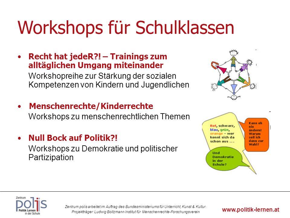 Workshops für Schulklassen