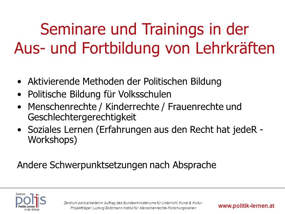 Seminare und Trainings in der Aus- und Fortbildung von Lehrkräften