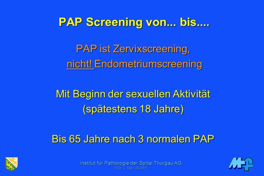 PAP Screening von... bis.... PAP ist Zervixscreening,