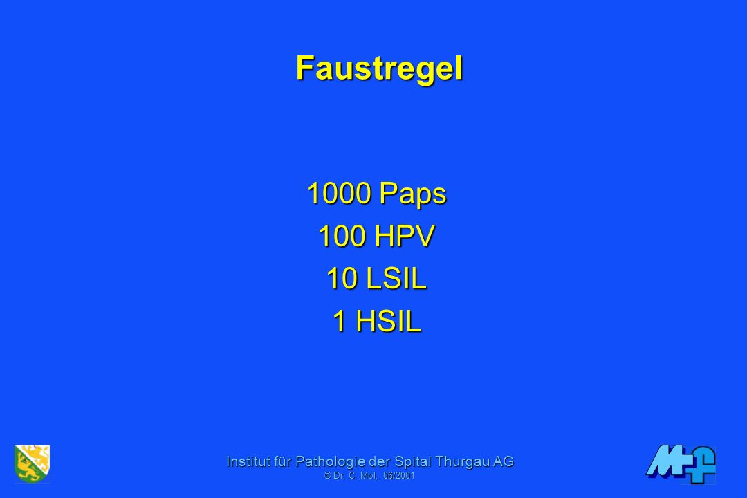 Faustregel 1000 Paps 100 HPV 10 LSIL 1 HSIL
