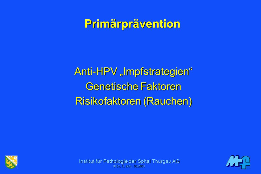 """Anti-HPV """"Impfstrategien Genetische Faktoren Risikofaktoren (Rauchen)"""