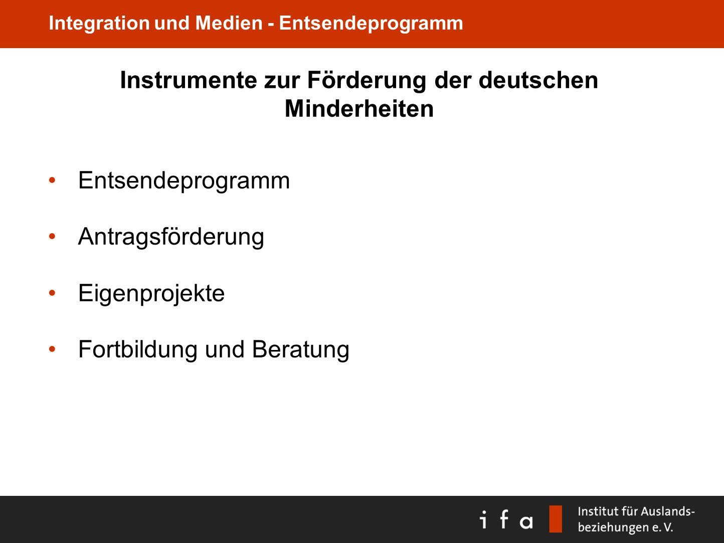 Instrumente zur Förderung der deutschen Minderheiten