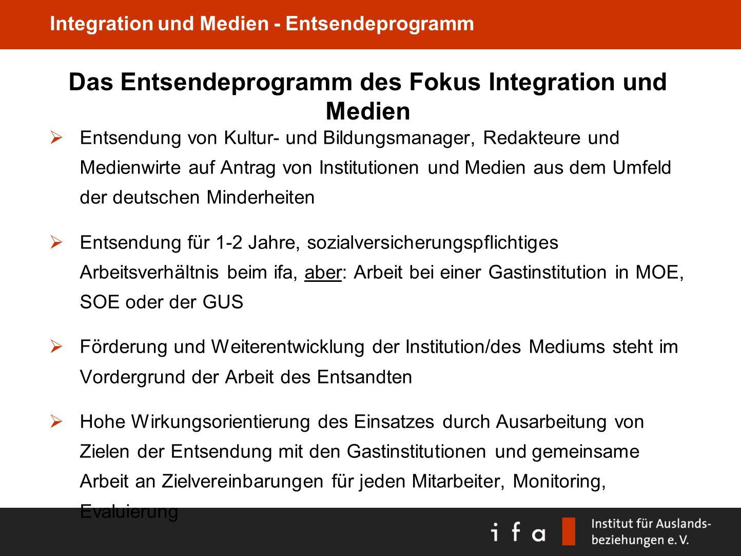 Das Entsendeprogramm des Fokus Integration und Medien