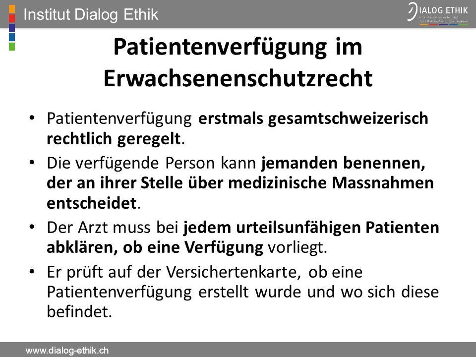 Patientenverfügung im Erwachsenenschutzrecht