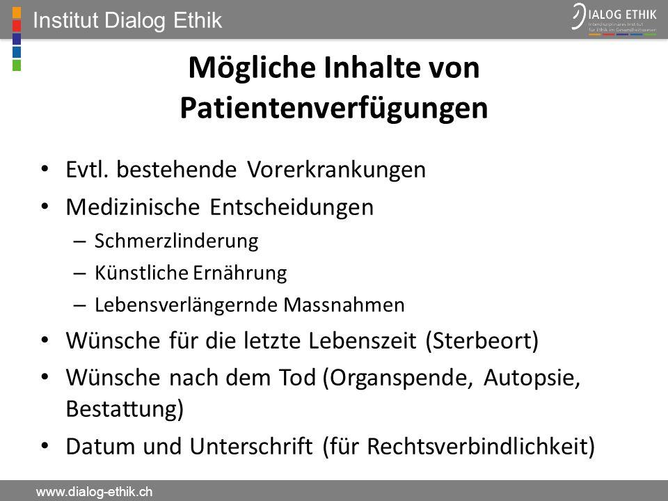 Mögliche Inhalte von Patientenverfügungen