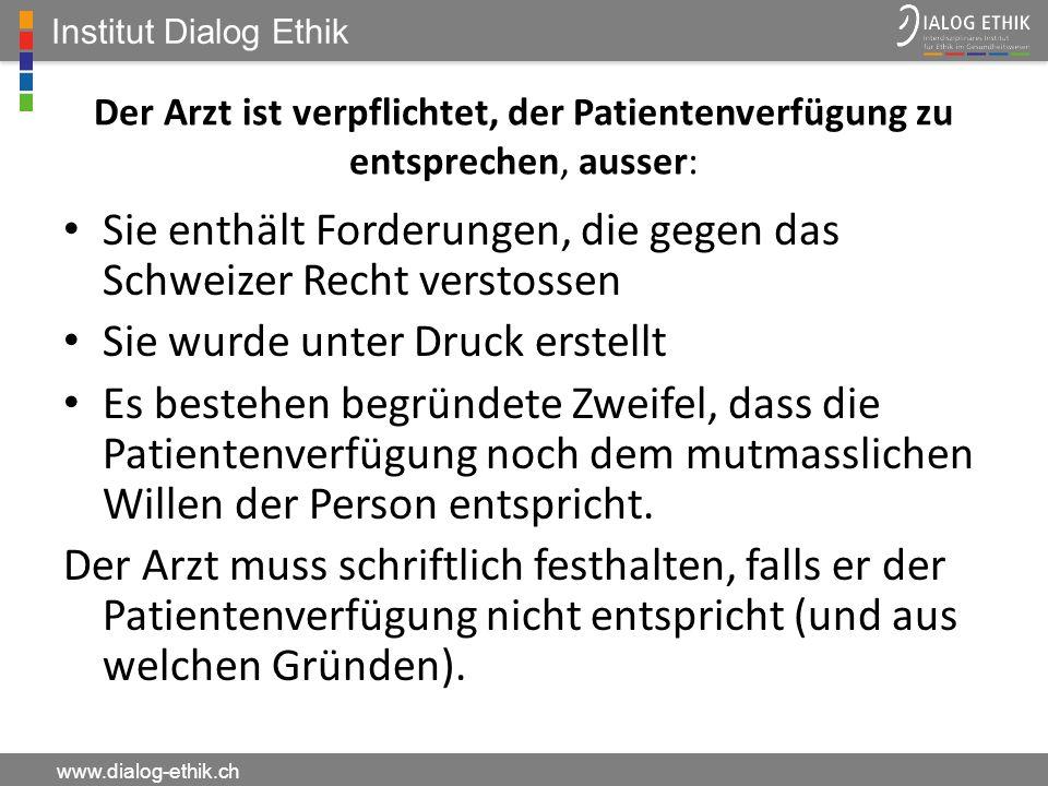 Sie enthält Forderungen, die gegen das Schweizer Recht verstossen
