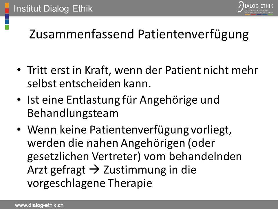 Zusammenfassend Patientenverfügung