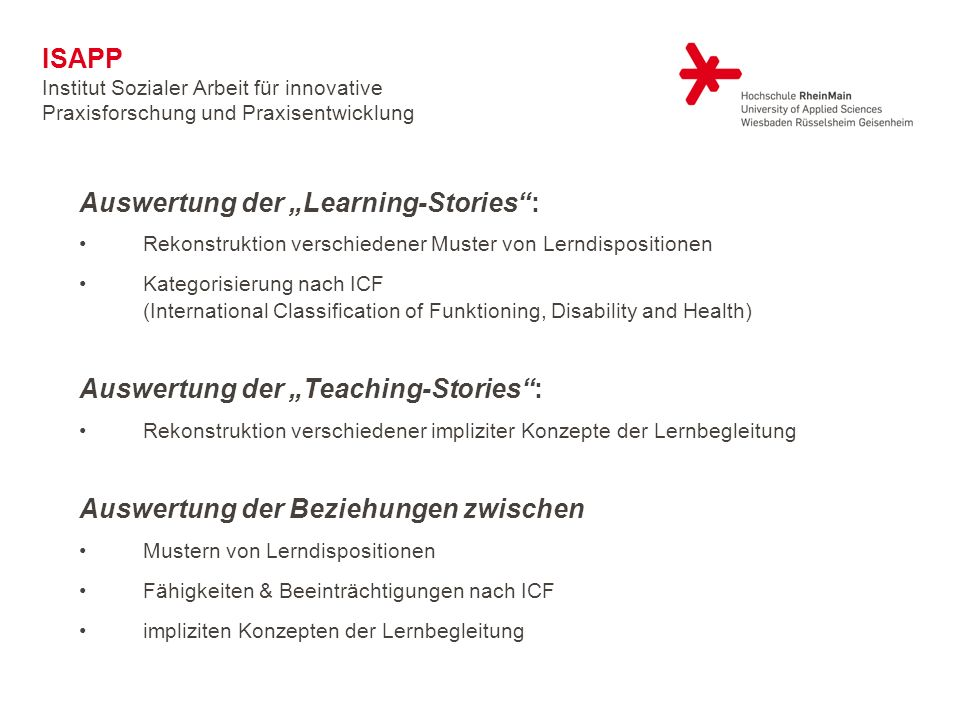 "Auswertung der ""Learning-Stories :"