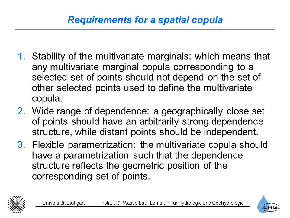 Requirements for a spatial copula
