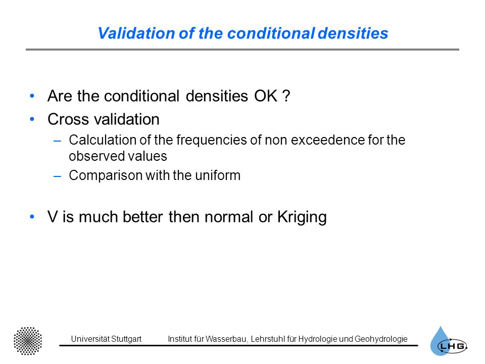 Validation of the conditional densities