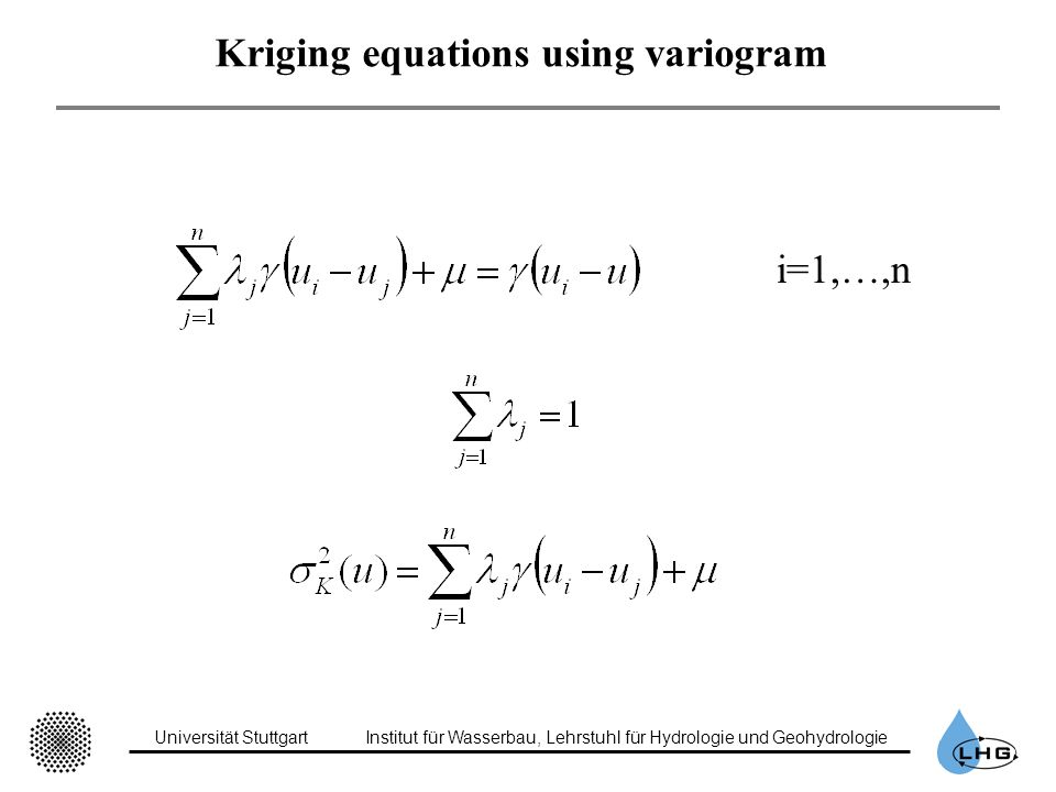 Kriging equations using variogram
