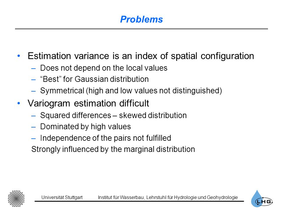 Estimation variance is an index of spatial configuration