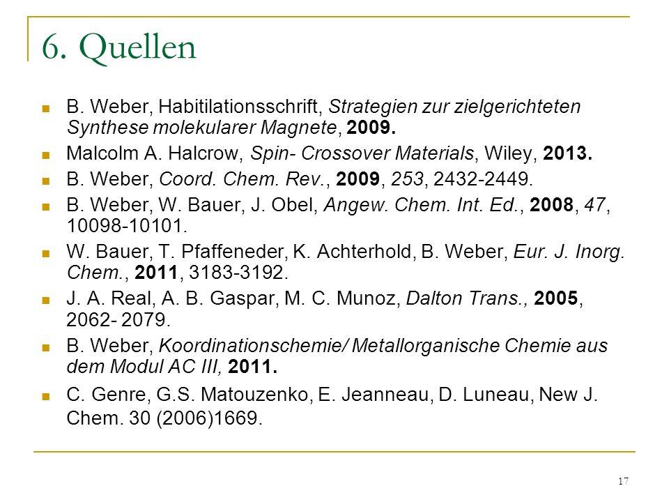6. Quellen B. Weber, Habitilationsschrift, Strategien zur zielgerichteten Synthese molekularer Magnete, 2009.