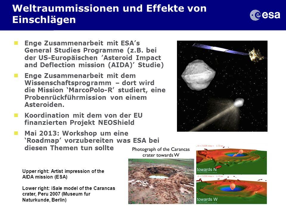 Weltraummissionen und Effekte von Einschlägen