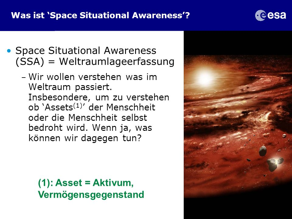 Was ist 'Space Situational Awareness'