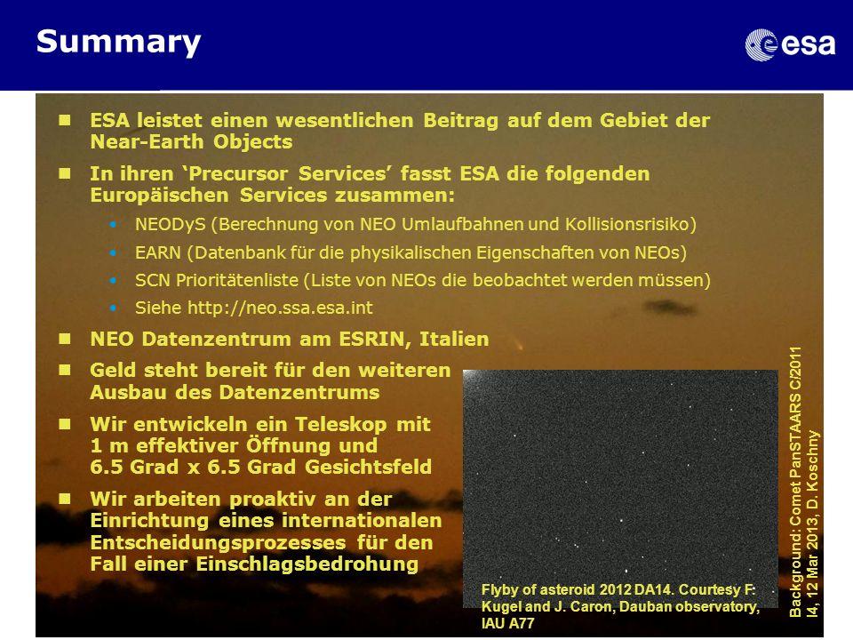 Summary 18 Feb 2013. ESA leistet einen wesentlichen Beitrag auf dem Gebiet der Near-Earth Objects.