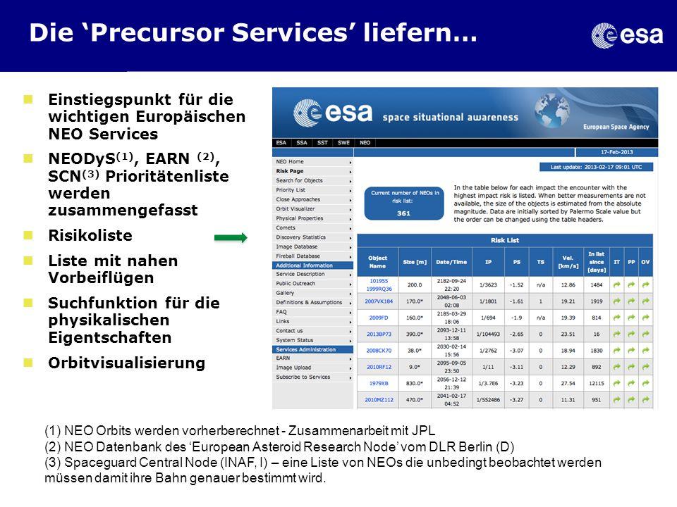 Die 'Precursor Services' liefern…