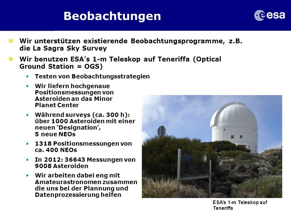 18 Feb 2013 Beobachtungen. Wir unterstützen existierende Beobachtungsprogramme, z.B. die La Sagra Sky Survey.