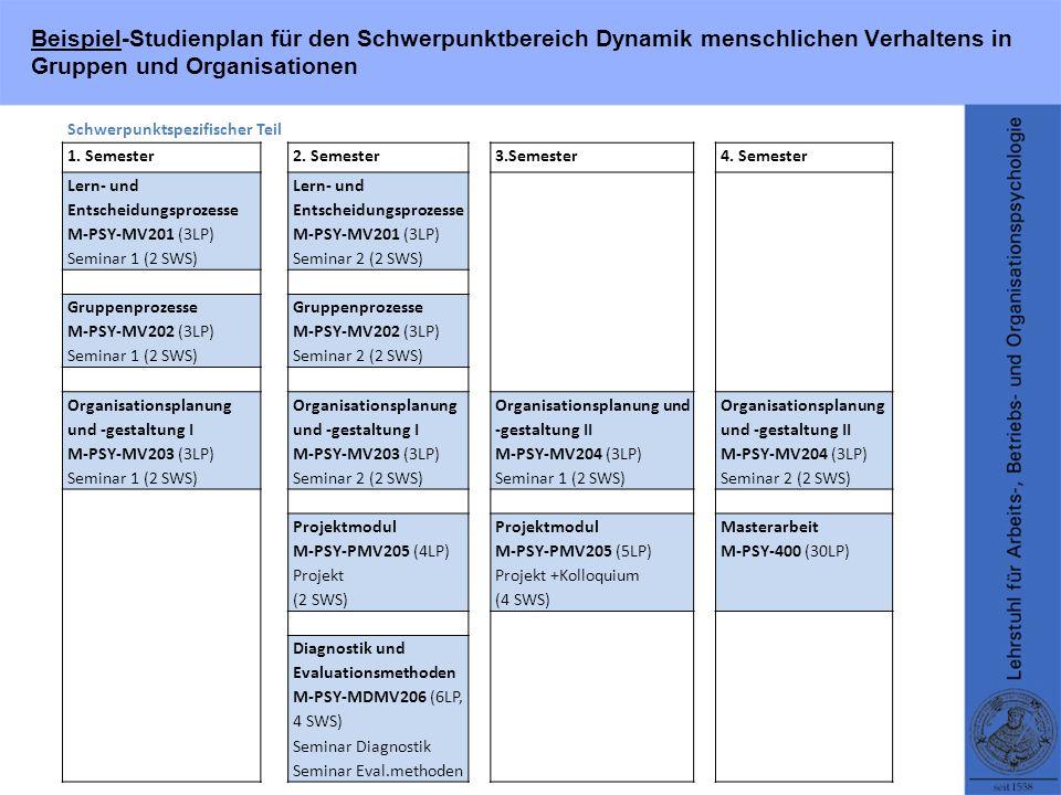 Beispiel-Studienplan für den Schwerpunktbereich Dynamik menschlichen Verhaltens in Gruppen und Organisationen