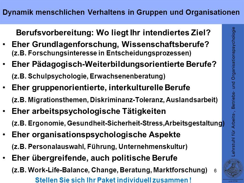 Dynamik menschlichen Verhaltens in Gruppen und Organisationen