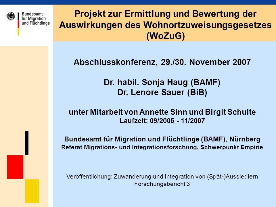 Projekt zur Ermittlung und Bewertung der Auswirkungen des Wohnortzuweisungsgesetzes (WoZuG)