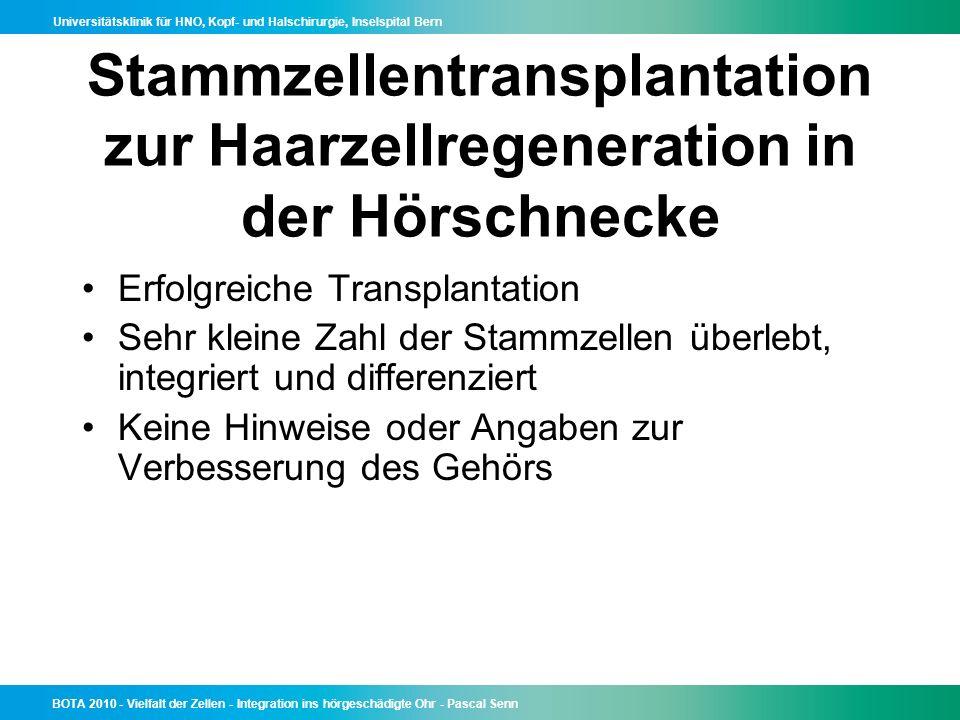 Stammzellentransplantation zur Haarzellregeneration in der Hörschnecke