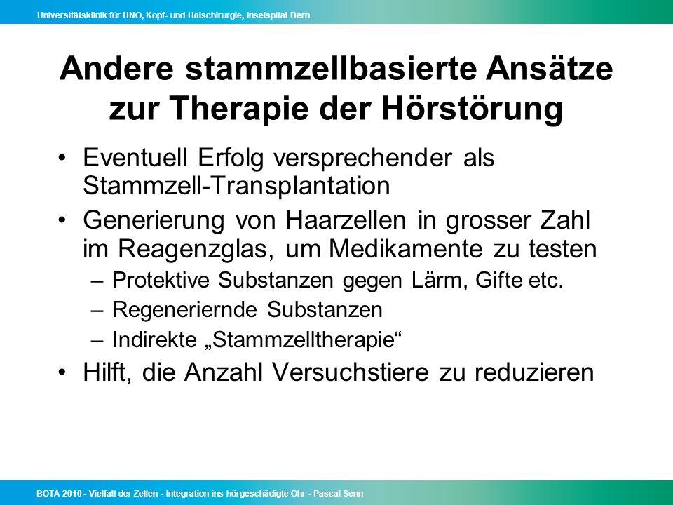 Andere stammzellbasierte Ansätze zur Therapie der Hörstörung