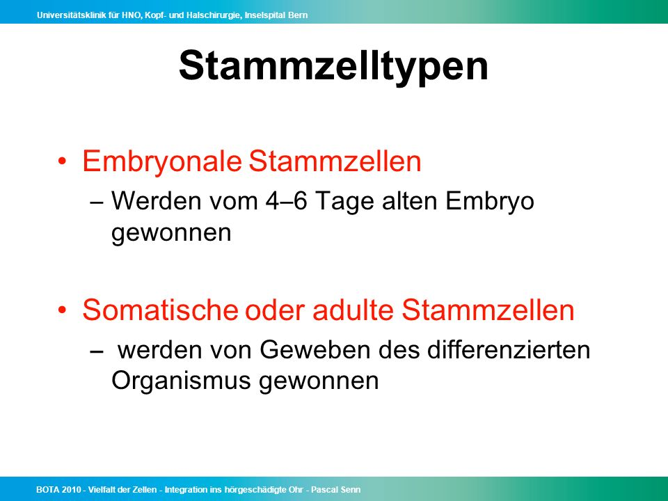 Stammzelltypen Embryonale Stammzellen