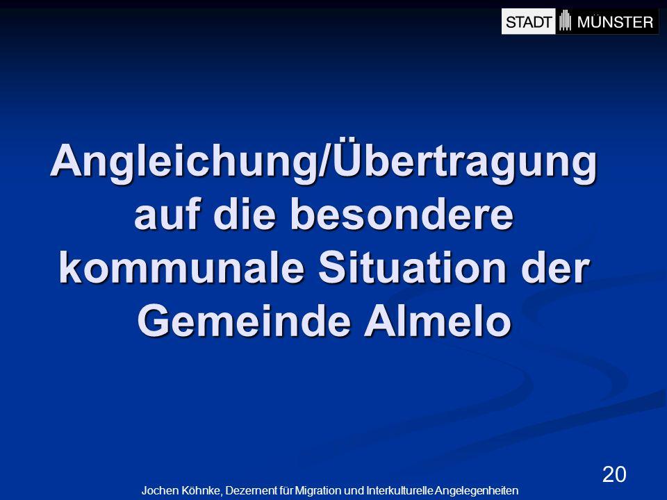 Angleichung/Übertragung auf die besondere kommunale Situation der Gemeinde Almelo