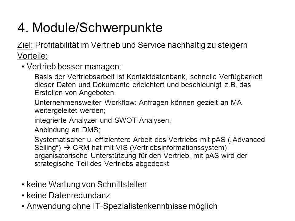 4. Module/Schwerpunkte Ziel: Profitabilität im Vertrieb und Service nachhaltig zu steigern. Vorteile: