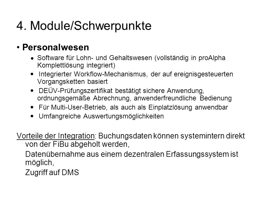 4. Module/Schwerpunkte • Personalwesen